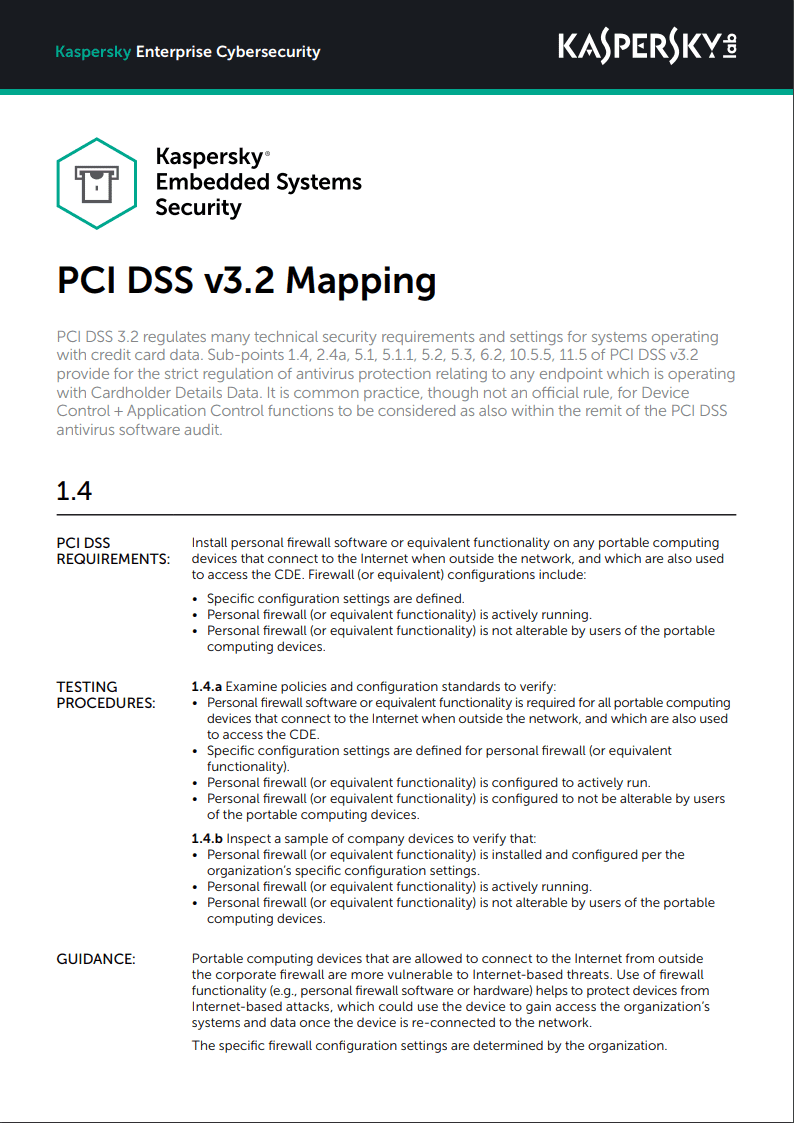 Kaspersky Embedded Systems Security - تعيين PCI DSS v3.2